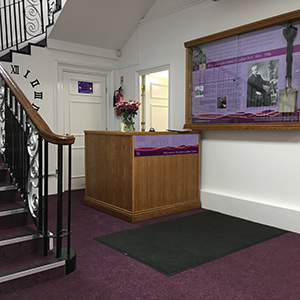 The John Godber Centre reception, welcome desk and Canon Godber interpretation panel