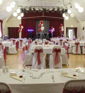 The Main Hall set for a wedding reception at the John Godber Centre