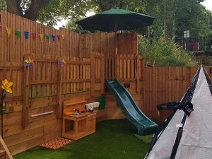 Tiny Tots outdoor play area at the John Godber Centre