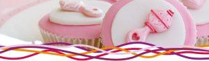 Pink cakes at a baby shower at the John Godber Centre, Hucknall