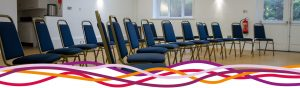 The Byron Suite room set with chairs at the John Godber Centre, Hucknall