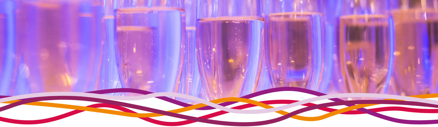 Champagne flutes for a celebration party at the John Godber Centre, Hucknall, Nottinghamshire