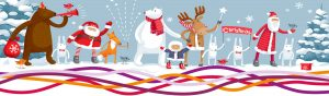 Cartoon Christmas characters in a winter scene