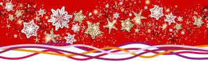 Christmas baubles and snowflake decorations on a red background