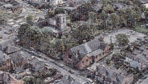 Aerial view of the John Godber Centre and St Mary Magdalene church, Hucknall, made of smaller user images
