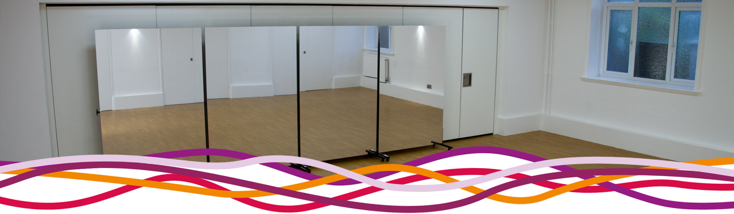 Portable mirror wall in The Studio for dance and activities at the John Godber Centre