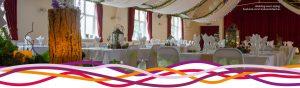 The Portland room (main hall), set up for a woodland themed wedding at the John Godber Centre, Hucknall