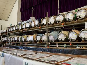 Real ale barrels of beer at the Hucknall Beer Festival 2019