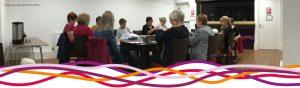 Knit & Natter social group meeting in Byron's Bar at the John Godber Centre, Hucknall