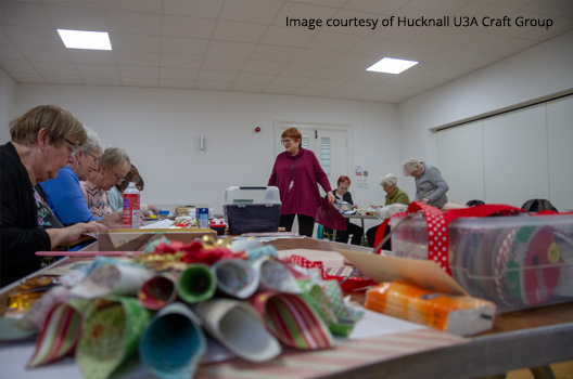 Hucknall U3A craft group meeting in the Bailey room at the John Godber Centre, Hucknall