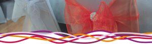 Close up of chair sashes at John Godber Centre Wedding Fair