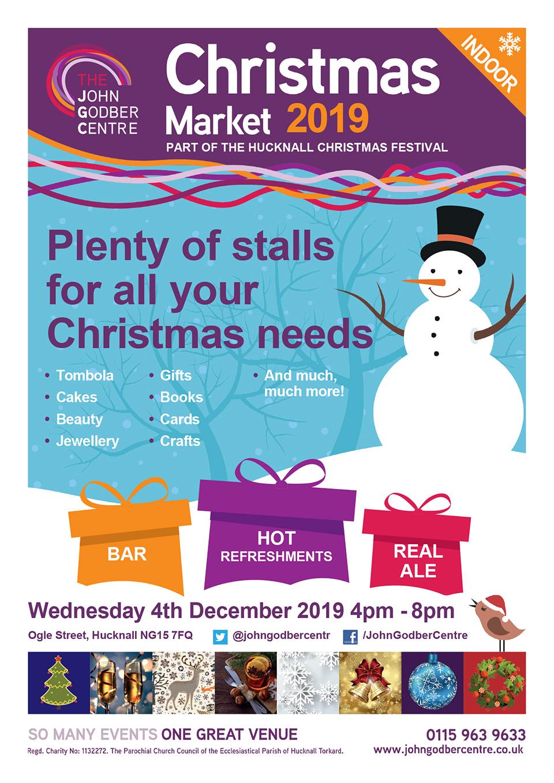 2019 John Godber Centre Christmas Market poster