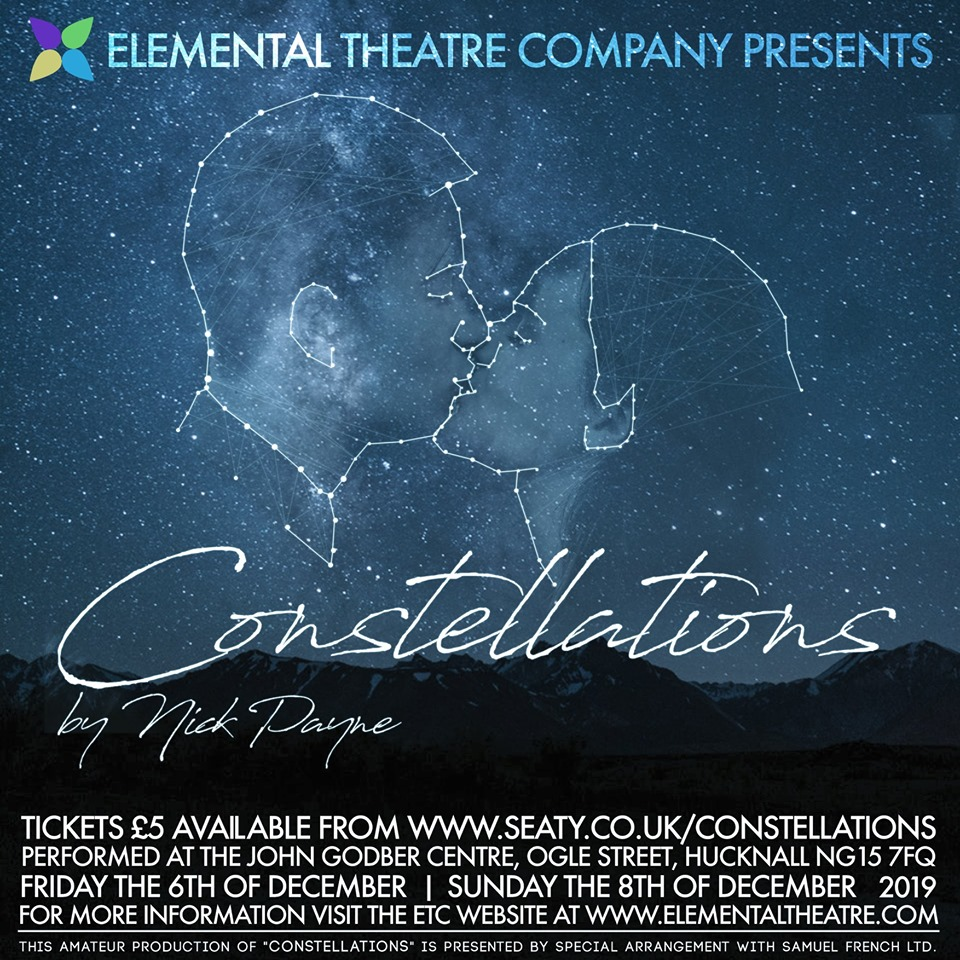 Elemental Theatre Company 'Constellations' event poster 2019