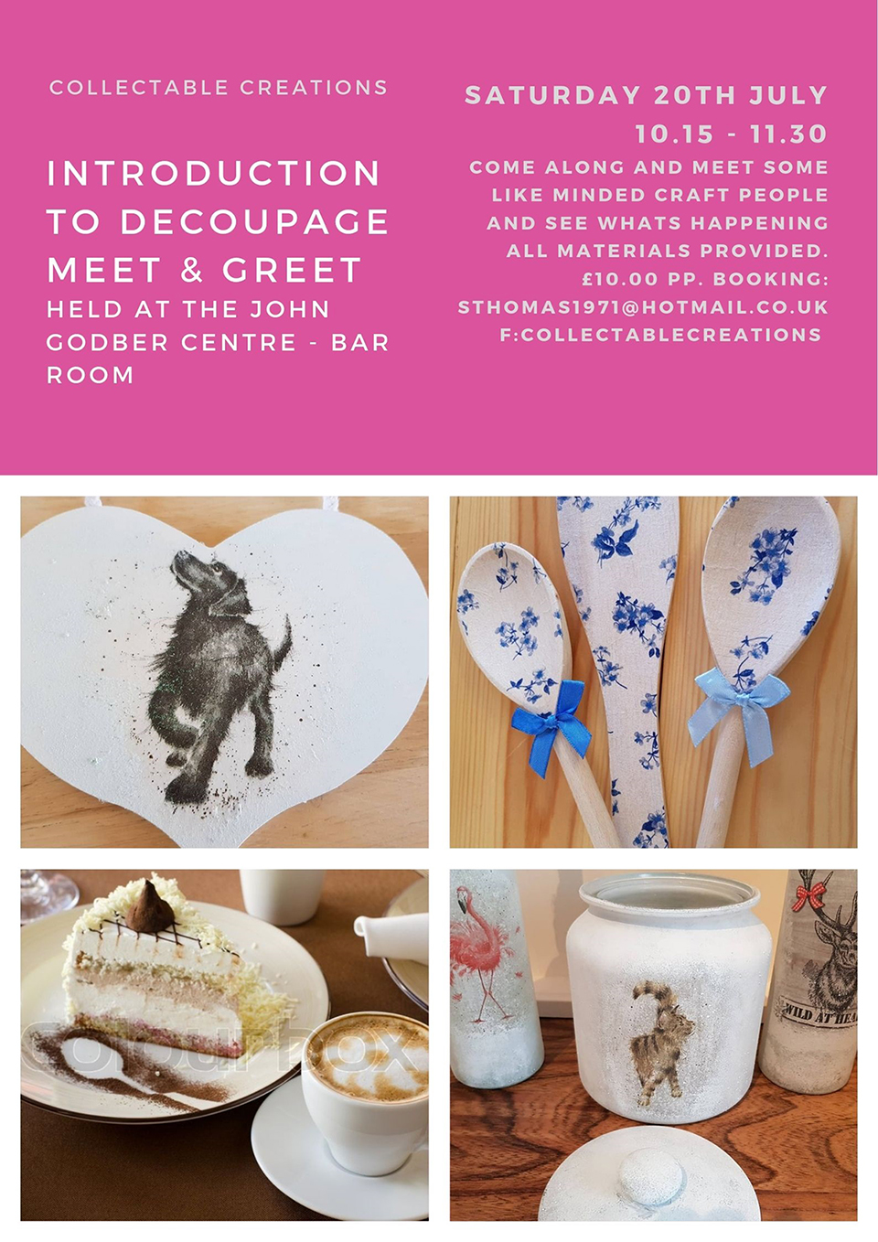 Collectable Creations Introduction to Decoupage meet & greet event 2019 poster