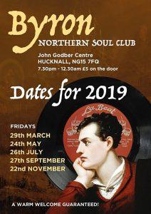 Byron Northern Soul Club event dates 2019