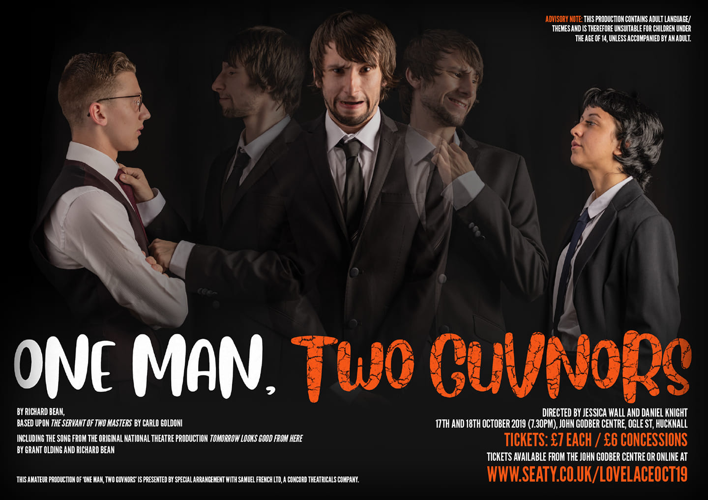Lovelace Theatre One Man, Two Guvnors production poster