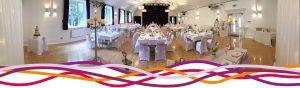 The main hall Portland room set up for a wedding reception