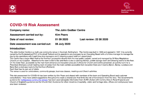 JGC Covid-19 Risk Assessment