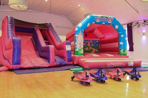 Bouncy Castles in the Portland main hall room