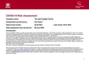 John Godber Centre Covid-19 Risk Assessment 5th January 2021
