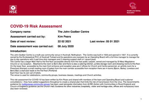 John Godber Centre Covid-19 Risk Assessment 5th January 2021