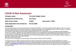 John Godber Centre Covid-19 Risk Assessment 17th May 2021