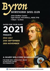 Byron Northern Soul Club event dates 2021