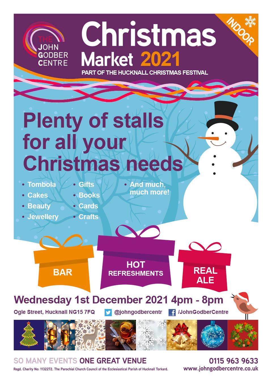 2021 John Godber Centre Christmas Market poster