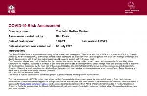 John Godber Centre Covid-19 Risk Assessment 21st June 2021