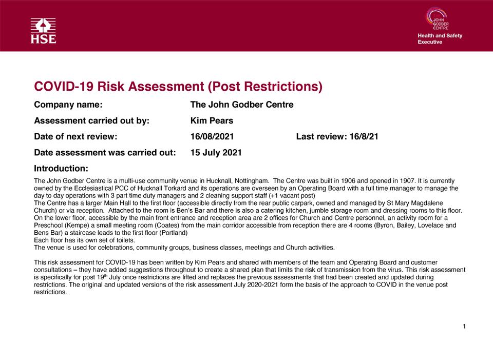 John Godber Centre Covid-19 Risk Assessment 19th July 2021