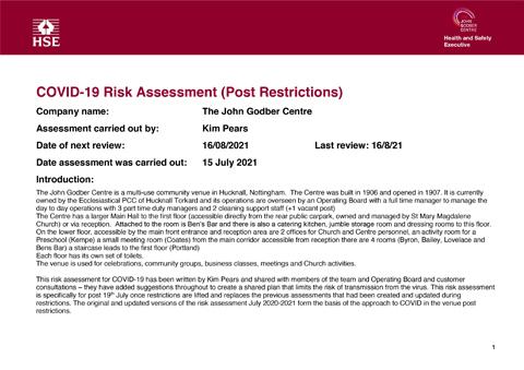 John Godber Centre Covid-19 Risk Assessment 15th July 2021